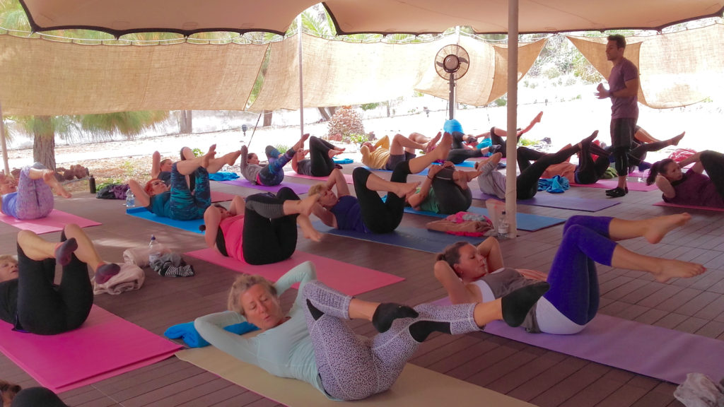 Pilates class in Santorini Greece